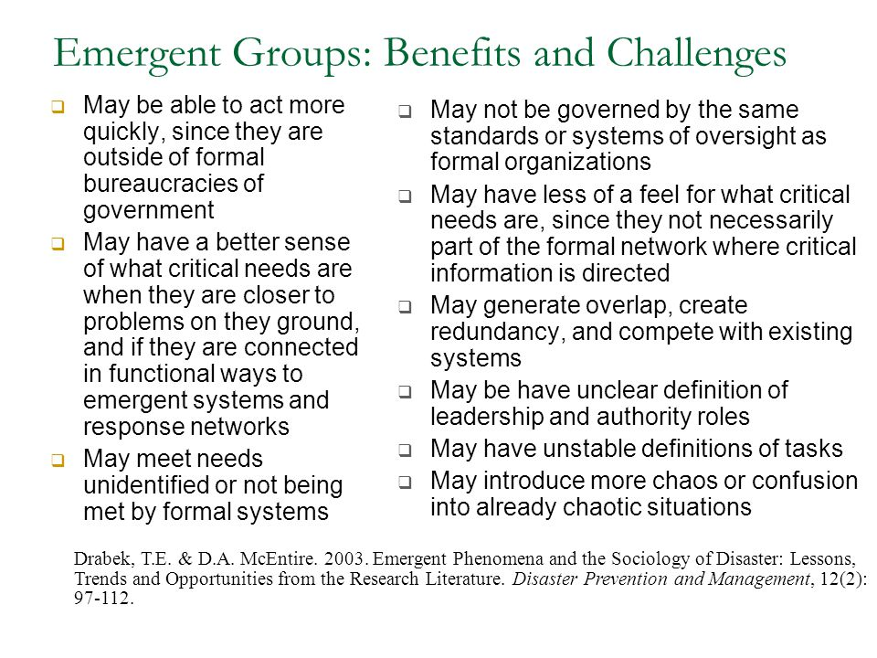 Emergent Groups: Benefits and Challenges  May be able to act more quickly, since they are outside of formal bureaucracies of government  May have a