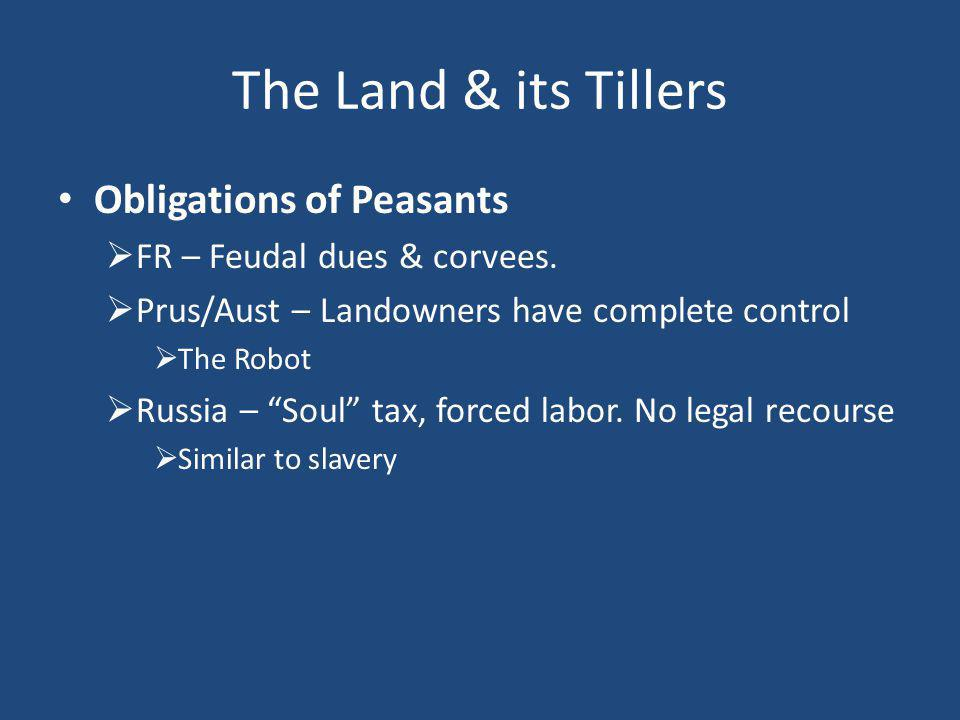 The Land & its Tillers Obligations of Peasants  FR – Feudal dues & corvees.