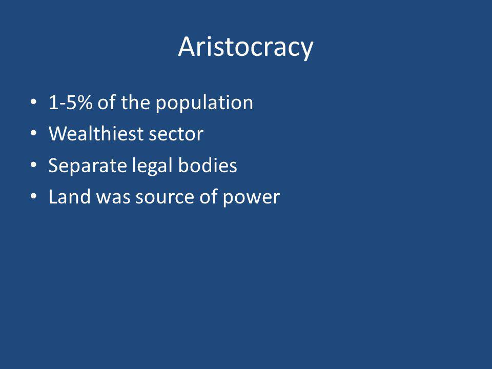 Aristocracy 1-5% of the population Wealthiest sector Separate legal bodies Land was source of power