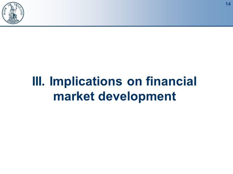 14 III. Implications on financial market development