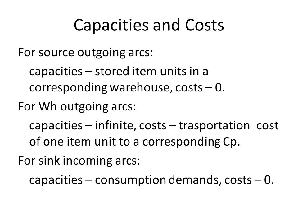 Capacities and Costs For source outgoing arcs: capacities – stored item units in a corresponding warehouse, costs – 0. For Wh outgoing arcs: capacitie