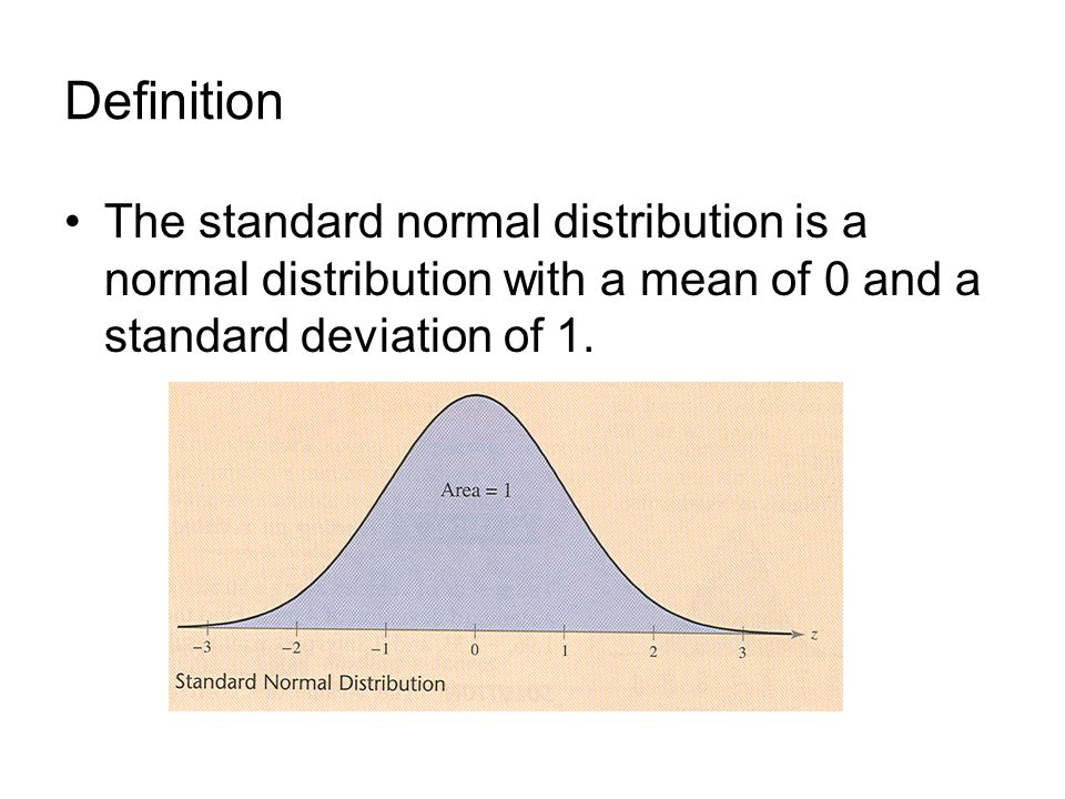 Definition The standard normal distribution is a normal distribution with a mean of 0 and a standard deviation of 1.