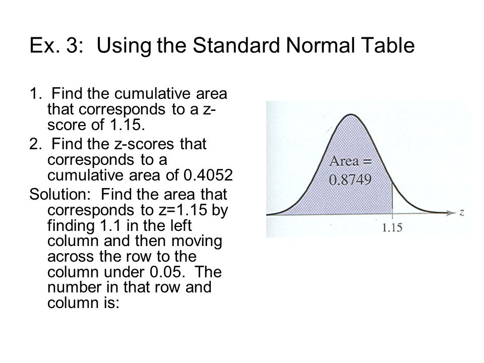 Ex. 3: Using the Standard Normal Table 1.
