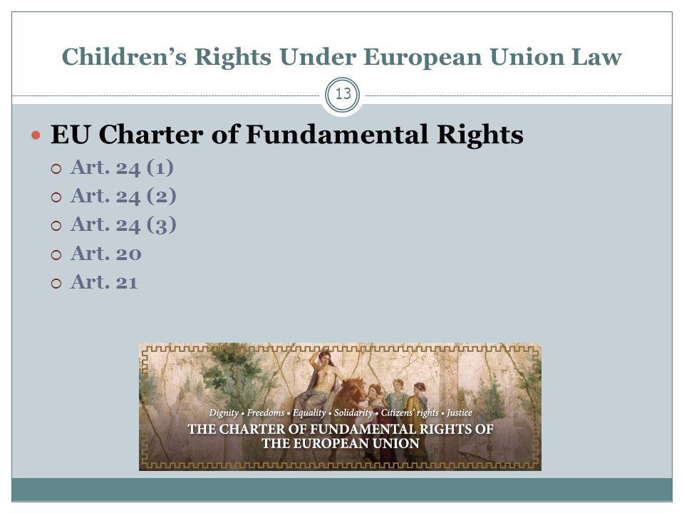 Children's Rights Under European Union Law EU Charter of Fundamental Rights  Art.