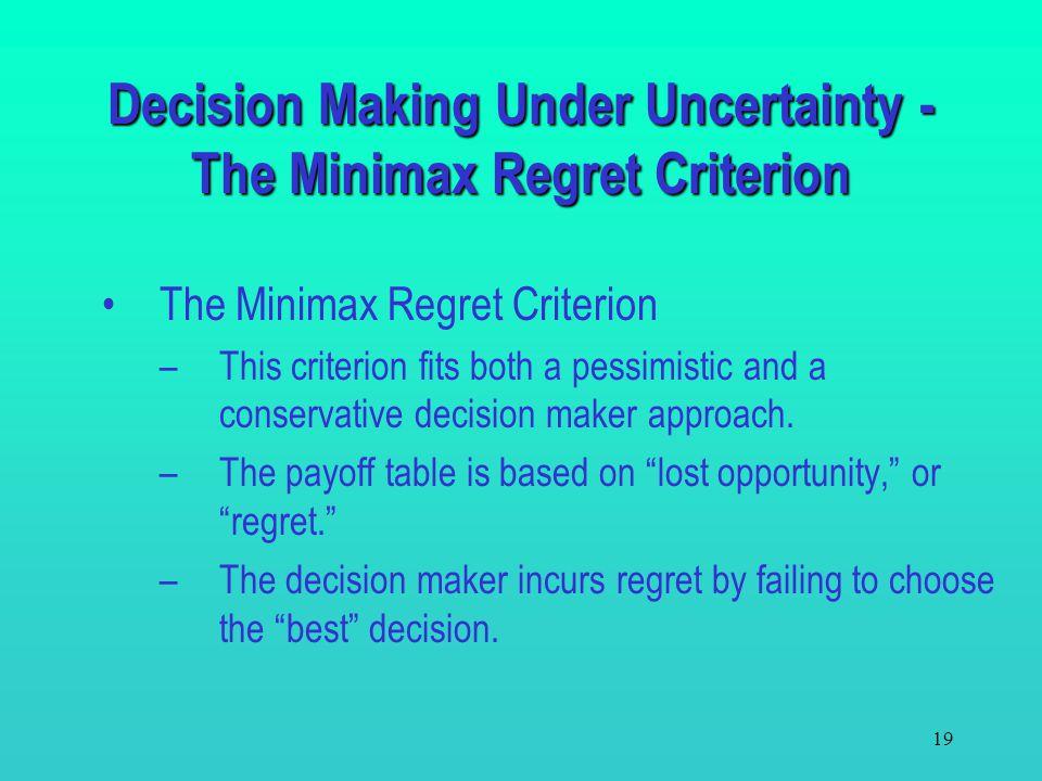 18 Decision Making Under Uncertainty - The Minimax Regret Criterion