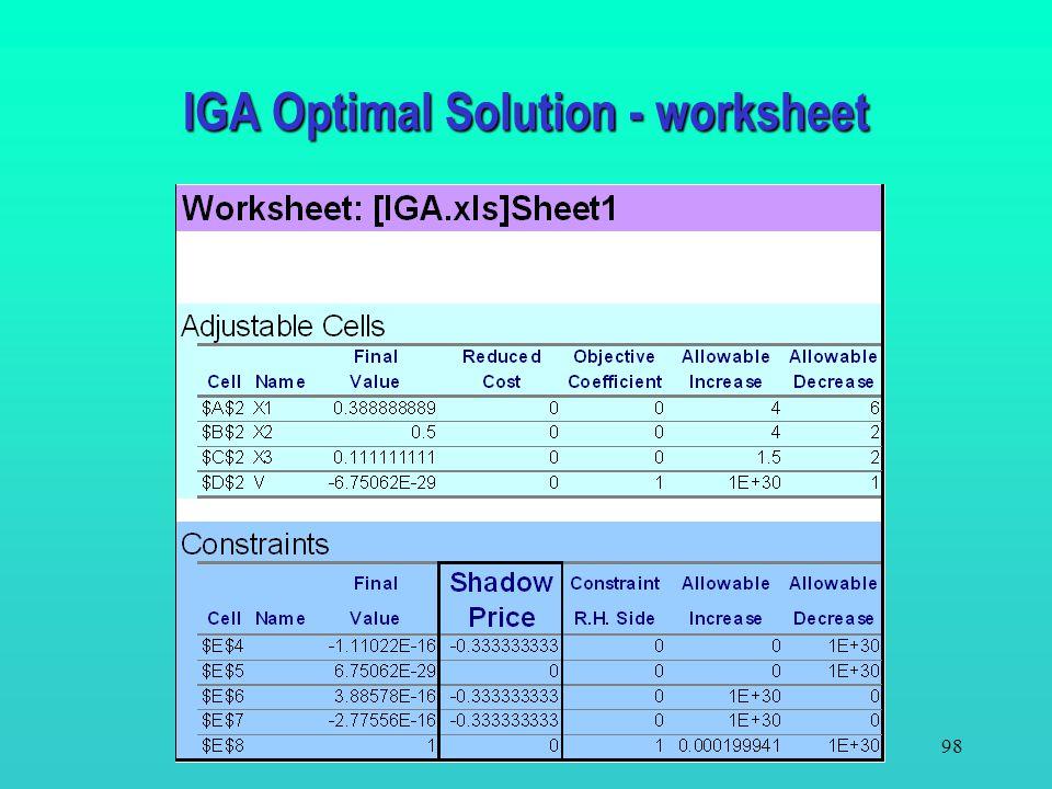 97 For IGA –X 1 = 0.3889; X 2 = 0.5; X 3 = 0.1111 For Sentry –Y 1 =.3333; Y 2 = 0; Y 3 =.3333; Y4 =.3333 For both players V =0 (a fair game). IGA SUPE