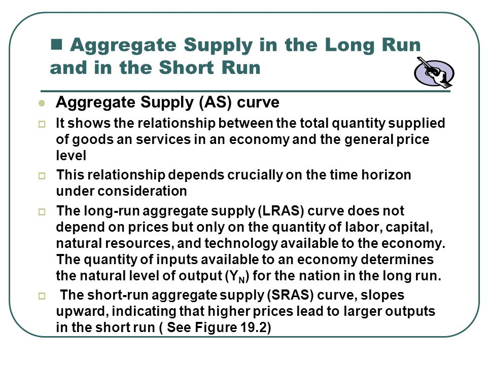 FIGURE 19-2 The Long-Run and Short-Run Aggregate Supply Curves.