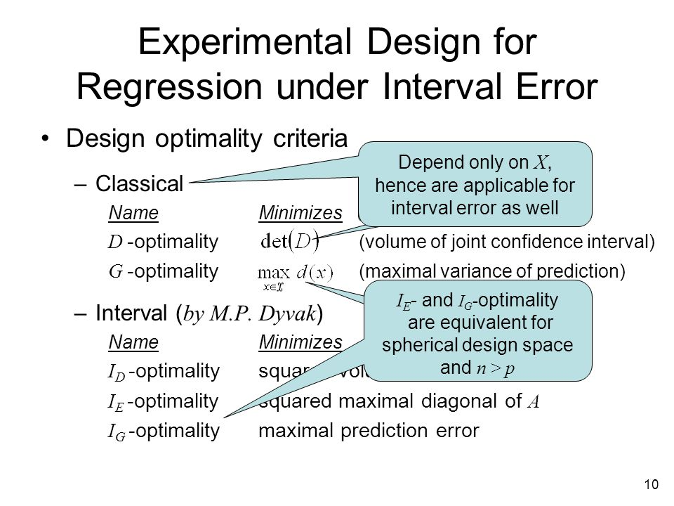 10 Experimental Design for Regression under Interval Error Design optimality criteria –Classical NameMinimizes D -optimality (volume of joint confidence interval) G -optimality (maximal variance of prediction) –Interval ( by M.P.