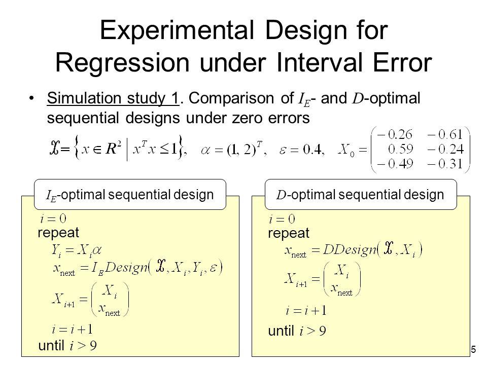 15 Experimental Design for Regression under Interval Error Simulation study 1.