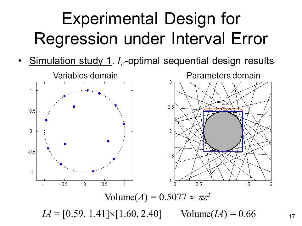 17 Experimental Design for Regression under Interval Error Simulation study 1.