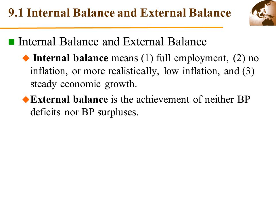 9.2 Policy Mix to Achieve Internal Balance and External Balance  Point A: BP deficit with unemployment.