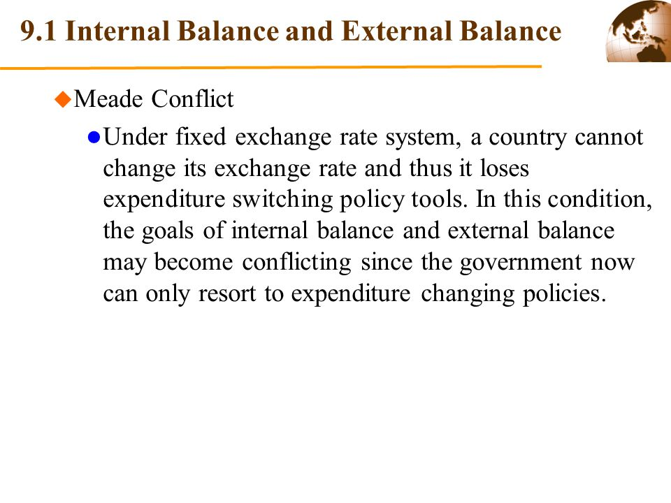 Chapter 9 Macroeconomic Policies in Open Economy 9.1 Internal Balance and External Balance 9.2 Policy Mix to Achieve Internal Balance and External Balance 9.3 Effects of Macroeconomic Policies under Fixed Exchange Rates 9.4 Effects of Macroeconomic Policies under Floating Exchange Rates
