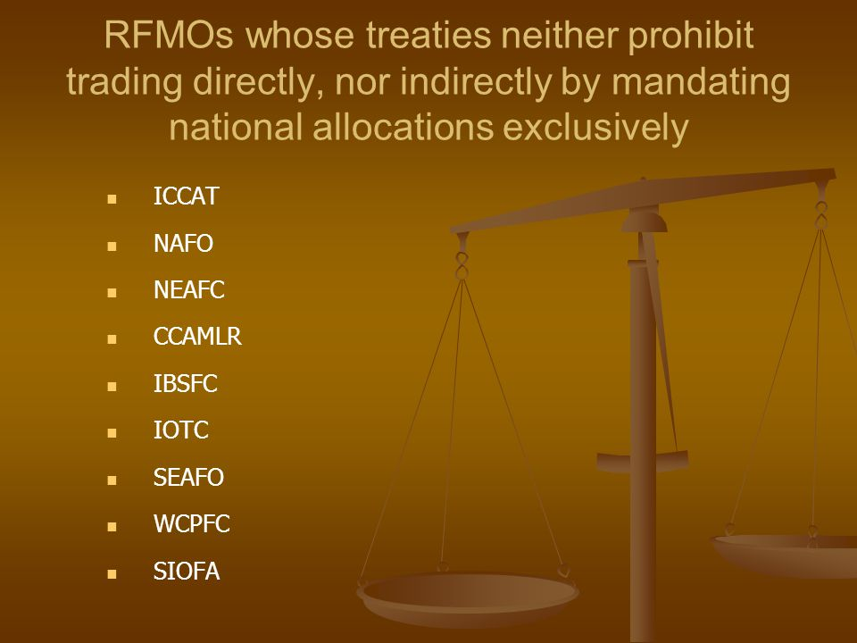 RFMOs whose treaties neither prohibit trading directly, nor indirectly by mandating national allocations exclusively ICCAT NAFO NEAFC CCAMLR IBSFC IOT