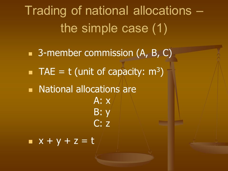 Trading of national allocations – the simple case (1) 3-member commission (A, B, C) TAE = t (unit of capacity: m 3 ) National allocations are A: x B: