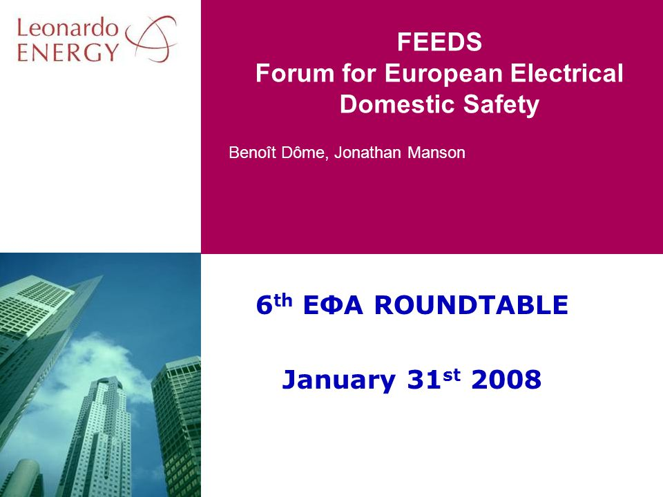 Benoît Dôme, Jonathan Manson FEEDS Forum for European Electrical Domestic Safety 6 th EΦA ROUNDTABLE January 31 st 2008
