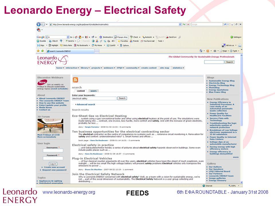 www.leonardo-energy.org6th EΦA ROUNDTABLE - January 31st 2008 FEEDS Leonardo Energy – Electrical Safety