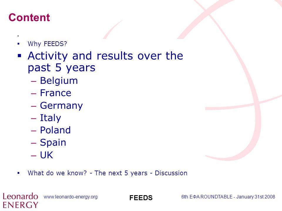 www.leonardo-energy.org6th EΦA ROUNDTABLE - January 31st 2008 FEEDS.
