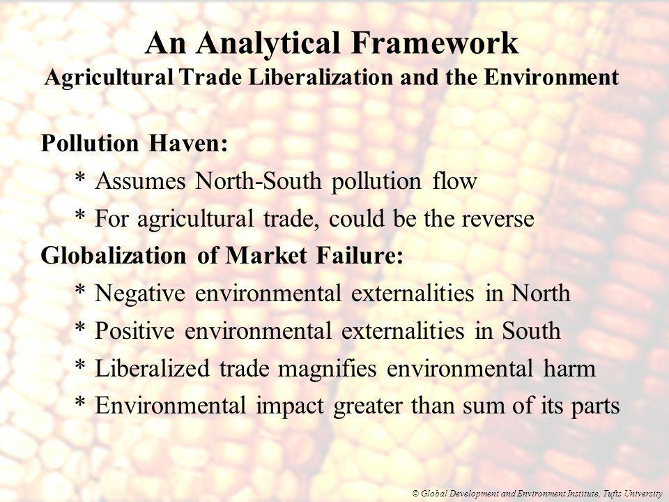 © Global Development and Environment Institute, Tufts University An Analytical Framework Agricultural Trade Liberalization and the Environment Pollution Haven: *Assumes North-South pollution flow *For agricultural trade, could be the reverse Globalization of Market Failure: *Negative environmental externalities in North *Positive environmental externalities in South *Liberalized trade magnifies environmental harm *Environmental impact greater than sum of its parts