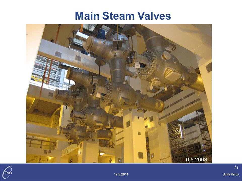 Antti Piirto 12.9.2014 21 6.5.2008 Main Steam Valves