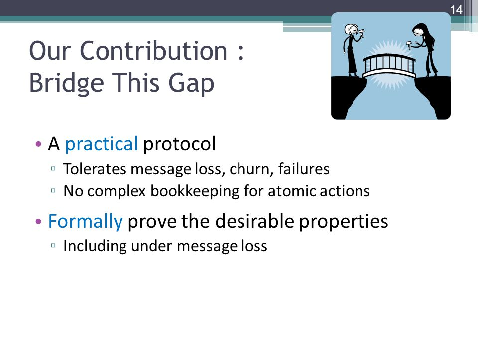 Our Contribution : Bridge This Gap A practical protocol ▫ Tolerates message loss, churn, failures ▫ No complex bookkeeping for atomic actions Formally prove the desirable properties ▫ Including under message loss 14