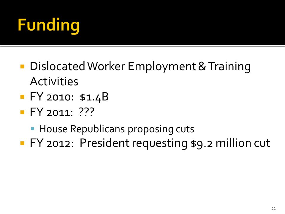  Dislocated Worker Employment & Training Activities  FY 2010: $1.4B  FY 2011: .