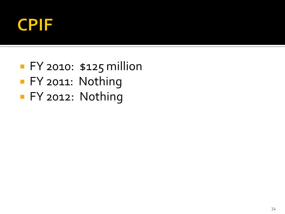  FY 2010: $125 million  FY 2011: Nothing  FY 2012: Nothing 34