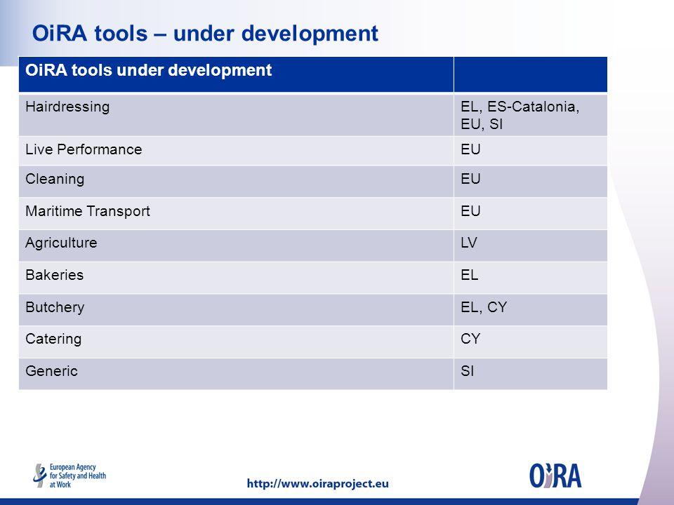 OiRA tools – under development OiRA tools under development HairdressingEL, ES-Catalonia, EU, SI Live PerformanceEU CleaningEU Maritime TransportEU AgricultureLV BakeriesEL ButcheryEL, CY CateringCY GenericSI