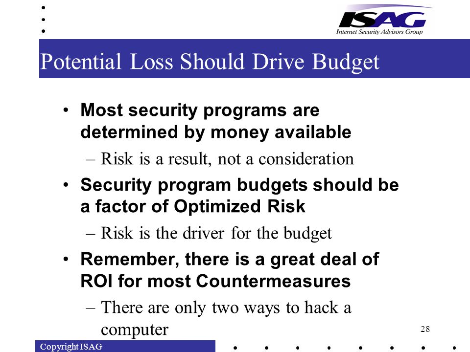 Copyright ISAG 28 Potential Loss Should Drive Budget Most security programs are determined by money available –Risk is a result, not a consideration Security program budgets should be a factor of Optimized Risk –Risk is the driver for the budget Remember, there is a great deal of ROI for most Countermeasures –There are only two ways to hack a computer