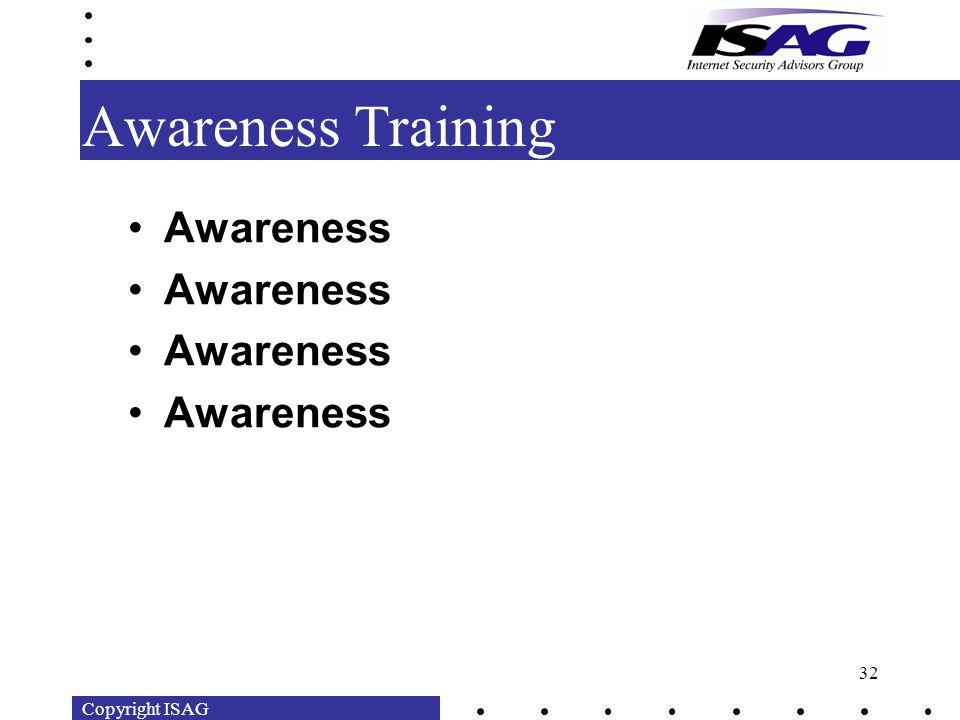 Copyright ISAG 32 Awareness Training Awareness