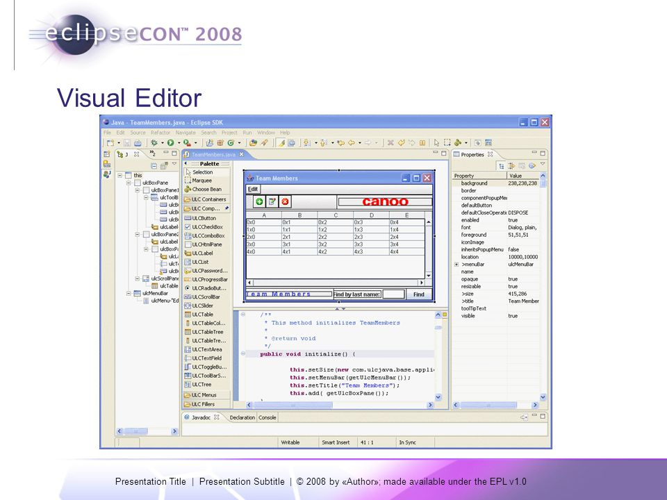 Presentation Title | Presentation Subtitle | © 2008 by «Author»; made available under the EPL v1.0 Visual Editor