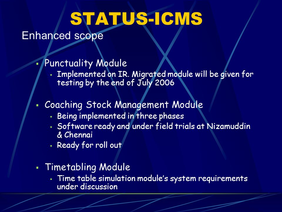 STATUS-ICMS Enhanced scope  Punctuality Module  Implemented on IR. Migrated module will be given for testing by the end of July 2006  Coaching Stoc