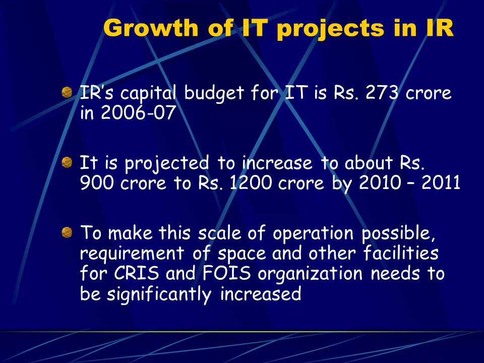 Growth of IT projects in IR IR's capital budget for IT is Rs. 273 crore in 2006-07 It is projected to increase to about Rs. 900 crore to Rs. 1200 cror
