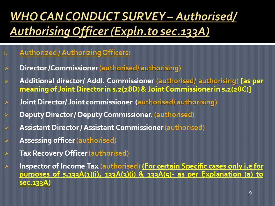 9 I. Authorized / Authorizing Officers: authorised/ authorisin  Director /Commissioner (authorised/ authorising) authorised/ authorising  Additional