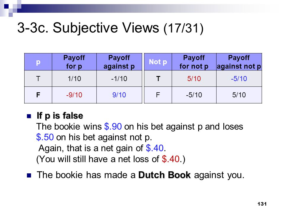 131 3-3c. Subjective Views (17/31) If p is false If p is false The bookie wins $.90 on his bet against p and loses $.50 on his bet against not p. Agai