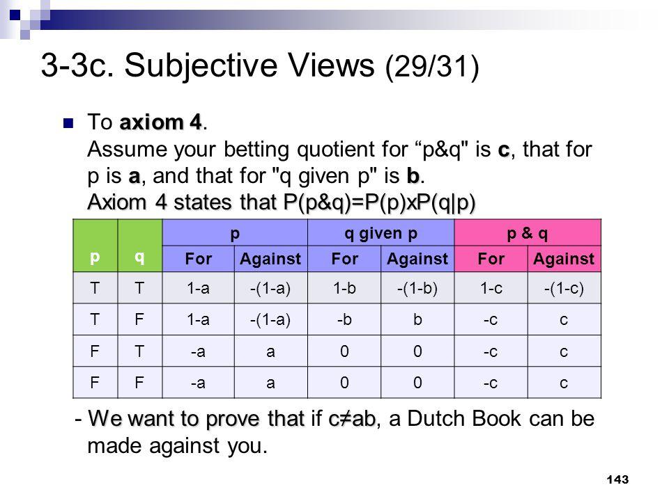 "143 3-3c. Subjective Views (29/31) axiom 4 c ab Axiom 4 states that P(p&q)=P(p)xP(q p ) To axiom 4. Assume your betting quotient for ""p&q"