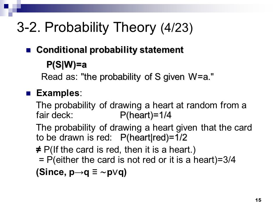15 3-2. Probability Theory (4/23) Conditional probability statement Conditional probability statement P(S W)=a the probability of S given W=a. Read as