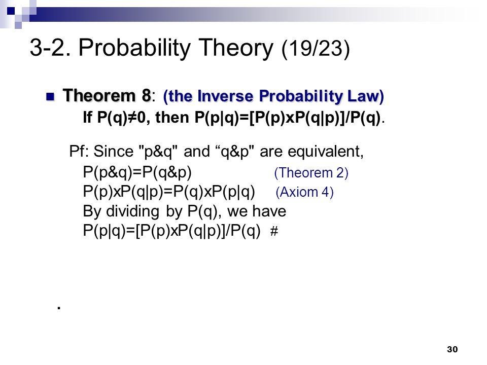 30 3-2. Probability Theory (19/23) Theorem 8 the Inverse Probability Law Theorem 8: (the Inverse Probability Law) If P(q)≠0, then P(p q)=[P(p)xP(q p)]