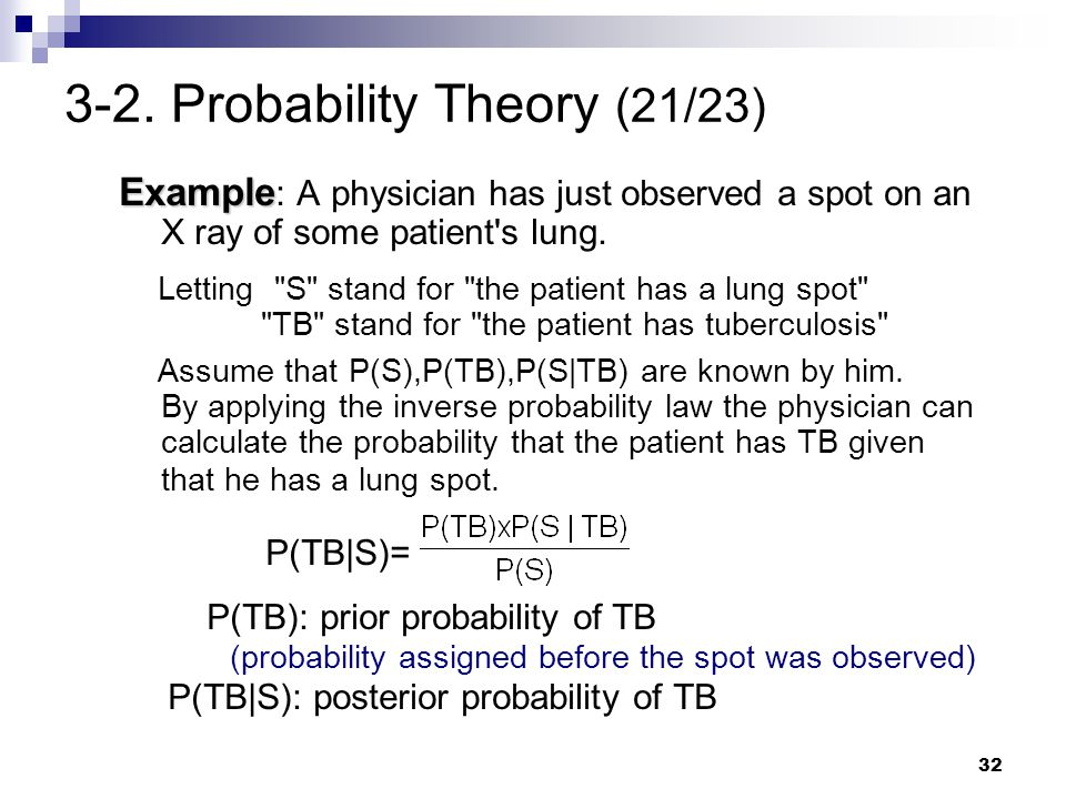 32 3-2. Probability Theory (21/23) Example Example : A physician has just observed a spot on an X ray of some patient's lung. Letting