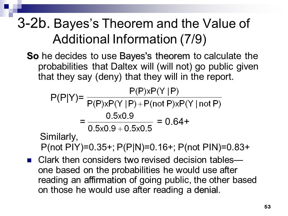 53 3-2b. Bayes's Theorem and the Value of Additional Information (7/9) SoBayes's theorem So he decides to use Bayes's theorem to calculate the probabi