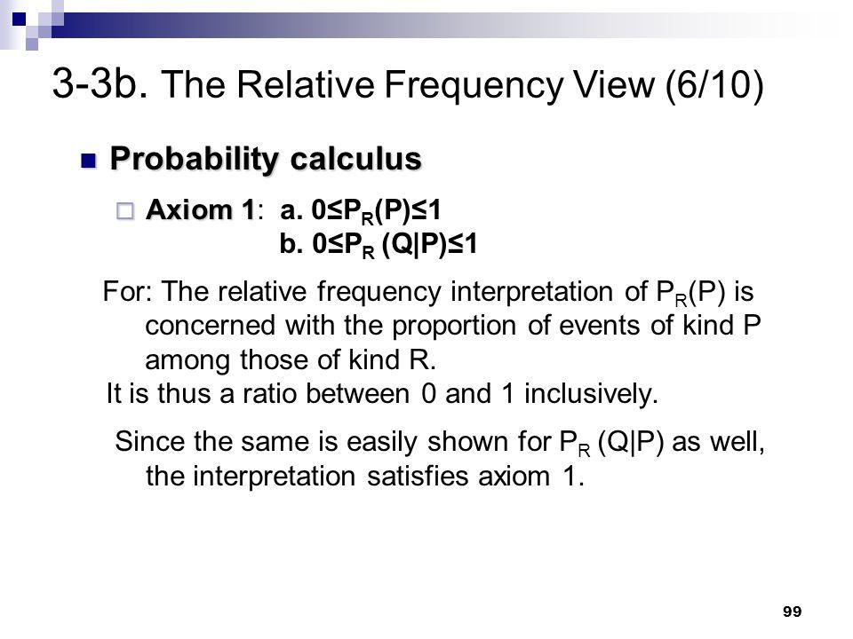 99 Probability calculus Probability calculus  Axiom 1  Axiom 1: a. 0≤P R (P)≤1 b. 0≤P R (Q P)≤1 For: The relative frequency interpretation of P R (P