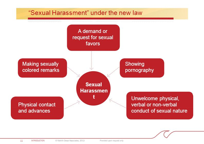 """Sexual Harassment"" under the new law A demand or request for sexual favors Sexual Harassmen t Showing pornography Unwelcome physical, verbal or non-v"