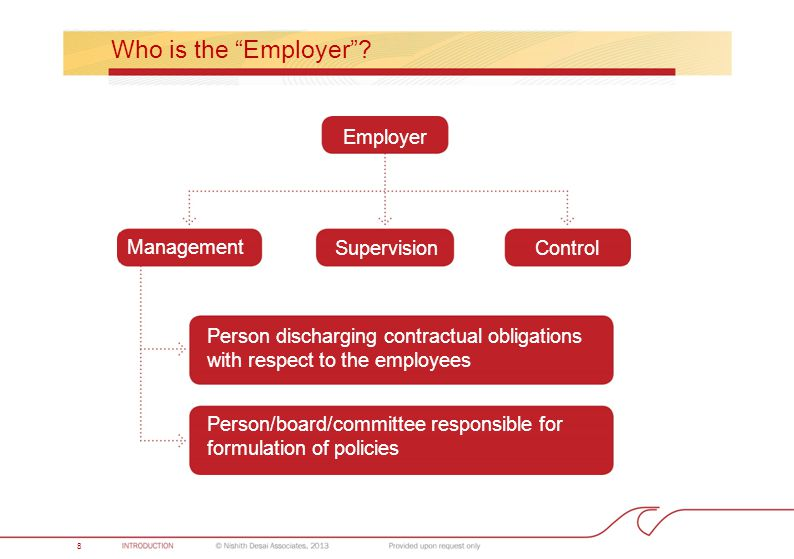 "8 Who is the ""Employer""? Employer SupervisionControl Management Person discharging contractual obligations with respect to the employees Person/board/"