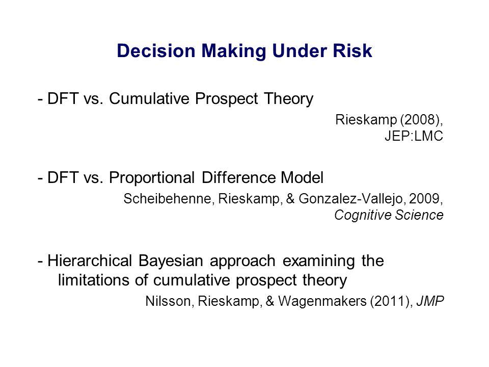 Decision Making Under Risk - DFT vs. Cumulative Prospect Theory Rieskamp (2008), JEP:LMC - DFT vs. Proportional Difference Model Scheibehenne, Rieskam