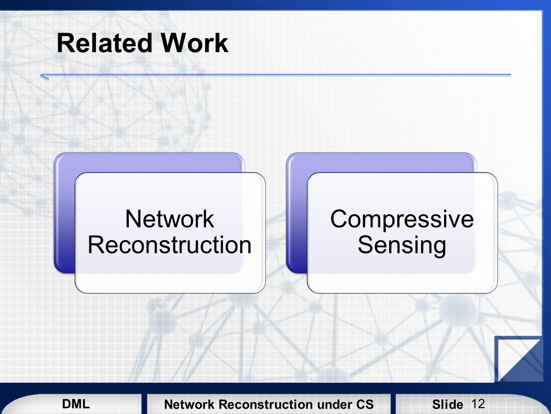 DML SlideNetwork Reconstruction under CS Related Work Network Reconstruction Compressive Sensing 12
