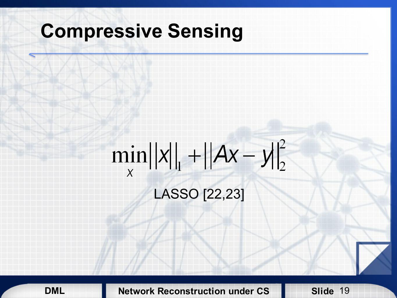 DML SlideNetwork Reconstruction under CS Compressive Sensing LASSO [22,23] 19