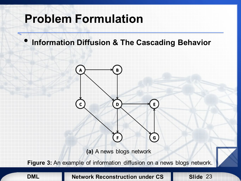 DML SlideNetwork Reconstruction under CS Problem Formulation Information Diffusion & The Cascading Behavior Figure 3: An example of information diffus