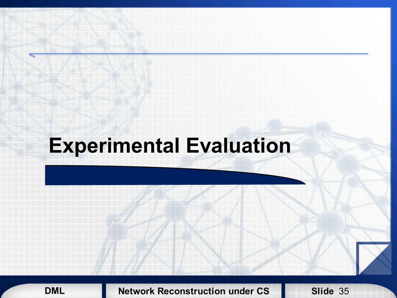 DML SlideNetwork Reconstruction under CS Experimental Evaluation 35