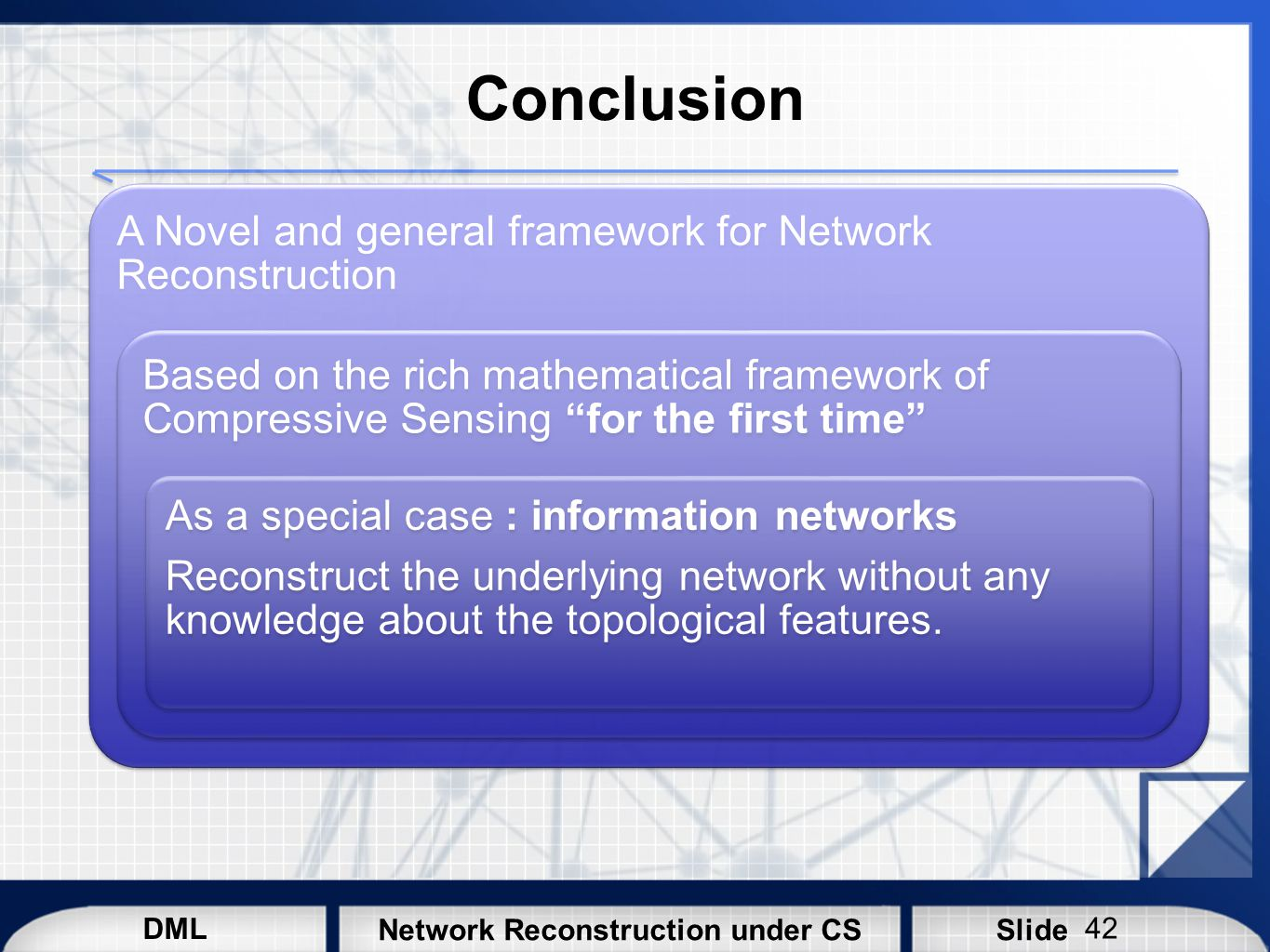 DML SlideNetwork Reconstruction under CS Conclusion A Novel and general framework for Network Reconstruction Based on the rich mathematical framework