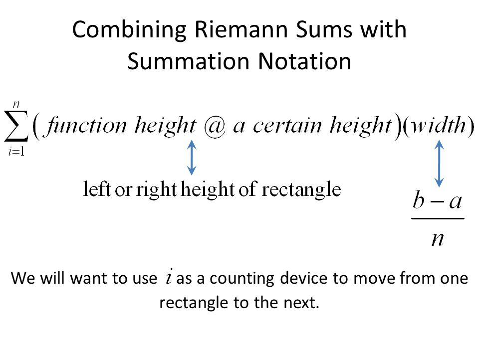 Combining Riemann Sums with Summation Notation We will want to use i as a counting device to move from one rectangle to the next.