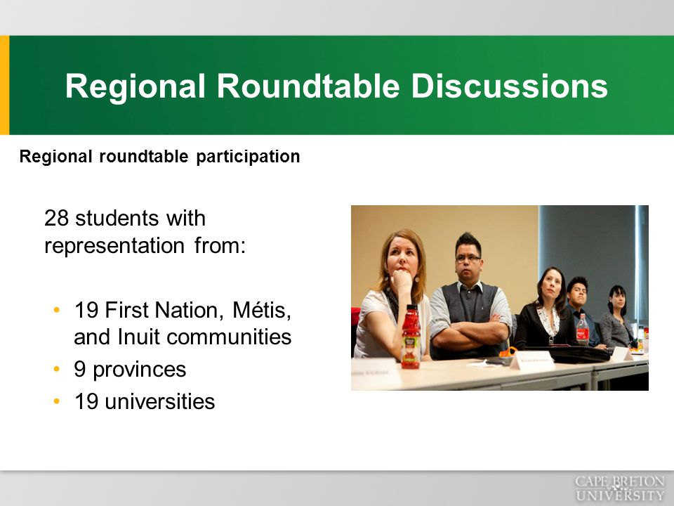 Regional roundtable participation 28 students with representation from: 19 First Nation, Métis, and Inuit communities 9 provinces 19 universities Regional Roundtable Discussions